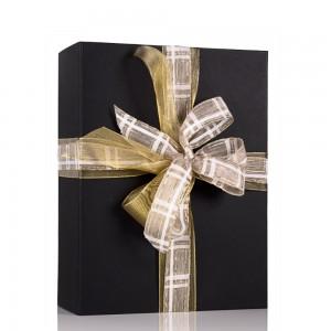 Embalagem Premium Decoração com Fita Ouro + Fita Xadrez Branco e Ouro